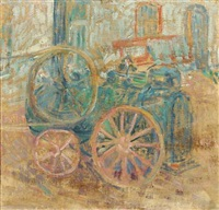 view from a backyard with steam engine by christine swane