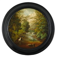 landscape of forest interior with stream and cattle by j. heyl raser