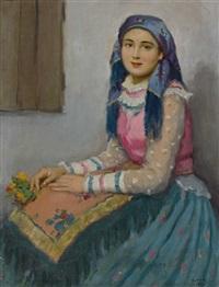 portrait eines hübschen mädchens in tracht by janos laszlo aldor