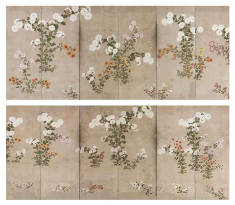 chrysanthemums pair in 12 parts by japanese school sotatsu 17