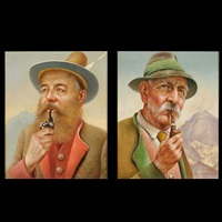 portraits (pair) by franz leitgeb