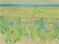 view of green hills with a sea horizon by christine swane