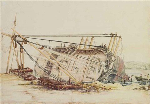 an armed vessel careened on the beach with its cannon ashore and workers cleaning its hull by edward william cooke