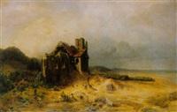 kirchenruine mit altem friedhof am strand by carl von perbandt