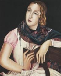 porträtt av ung kvinna - möjligen självporträtt by lydia dmitrievsky
