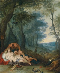ein satyr eine schlafende nymphe beobachtend (jupiter in gestalt eines satyrs bei antiope) by frans wouters