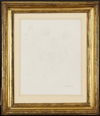 croquis de femmes (sketch; recto/verso) by leonor fini