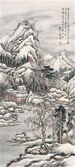 雪景山水 (landscape in snow by sun he