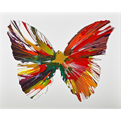 butterfly spin painting (created at damien hirst spin workshop) by damien hirst