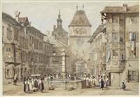 schaffhausen, schweiz, straßenszene auf stadtplatz mit brunnen und stadttor by samuel prout