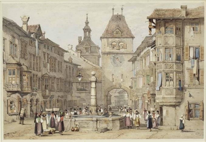 Schaffhausen, Schweiz, Straßenszene auf Stadtplatz mit Brunnen und ...