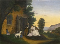 family by a trellised doorway with black and white dogs on a lake: a new england landscape by american school (19)