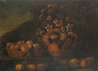 still life of flowers and fruit by michelangelo di campidoglio