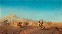 battle scene at the foot of the atlas mountains by henrik august ankarcrona