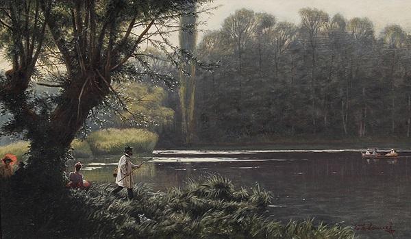 landschaft mit fluß im vordergrund ein angler und sitzende paare by ewald honnef