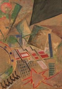 kubistisk stadsvy by alexei alekseevitsch morgunov