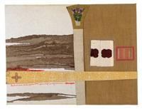 reliktmontage, in der handschrift des künstlers: bluttuch eines schafes (geschlachtet, gekreuzigt, ausgenommen) by hermann nitsch