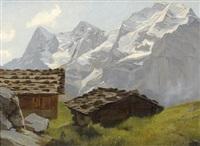 sommerliche gebirgspartie im berner oberland mit chalets (+ blumenstillleben, verso) by edouard-louis-auguste metton