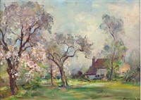 langford mill, maldon, essex (+ the orchard in blossom, smaller; 2 works) by james herbert snell
