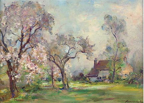 langford mill maldon essex the orchard in blossom smaller 2 works by james herbert snell