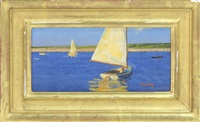 sailboat off the coast by thomas r. dunlay