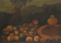 still life of fruit, flowers and other objects beside a tree by michelangelo di campidoglio