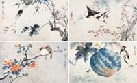 花鸟 (in 4 parts) by jiang hanting
