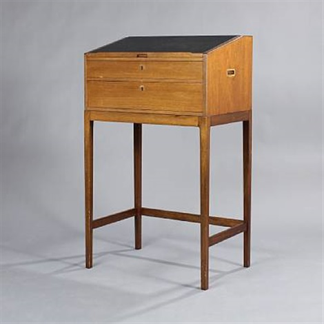 Free Standing Writing Desk With Two Drawers By Svend Langkilde