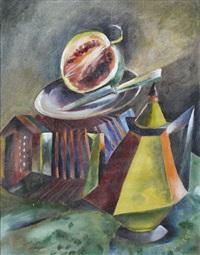 stillleben mit kanne, ziehharmonika und melone by erich metzold