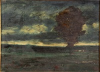lone tree at dusk by george inness
