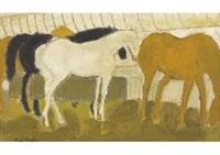 chevaux a l'ecurie by andré brasilier