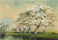 landscape with blossoming apple trees along a fence by frederick leo hunter