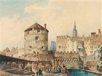 munich: rundturm (scheibling) und fischerturm am roßschwemmbach auf dem gelände des heutigen viktualiensmarkts by max kahn