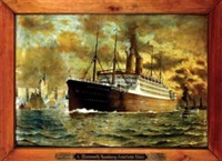 "a mammoth hamburg-american liner ""kaiserin auguste victoria"" by fred pansing"