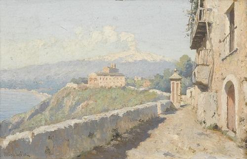 ansicht des klosters san domenico bei taormina mit aetna by mario mirabella