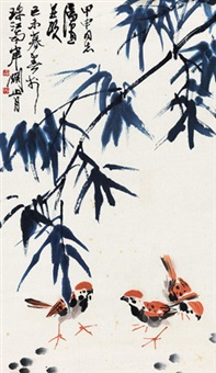 竹雀 镜心 设色纸本 by guan shanyue