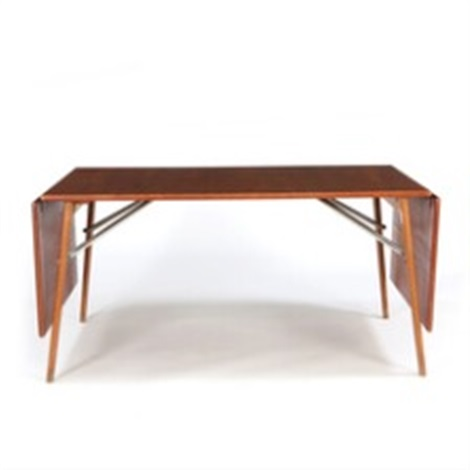 Dining Table With Frame Of Oak, Top Of Teak And Two Fold Down Leaves By