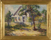 landscape with house and picket fence by anne wells munger