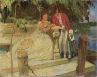 zwei damen bei einer steinbank am see by ferdinand dorsch