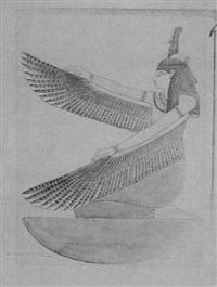winged maat kneeling on nub sign by howard carter