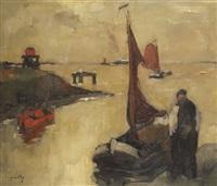 vue de l'escaut avec estacade, figure et bateaux de pêche by oscar verpoorten