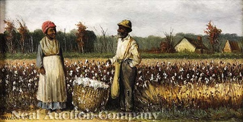 double portrait of sharecroppers in cotton field rice field beyond by william aiken walker