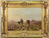 vaches dans un paysage by aymar (aimard alexandre) pezant