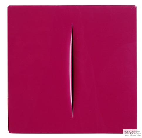 concetto spaziale rosa by lucio fontana