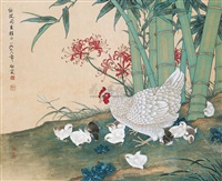 竹林群鸡 (group of chickens in the bamboo grove) by deng bai