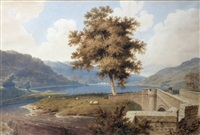 glen sheria with the duke of argyll's granaries - river landscape with bridge to foreground by copley fielding
