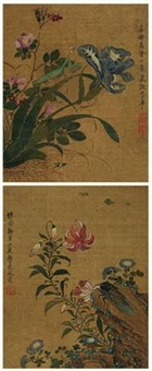 花卉草虫 (二件) (2 works; various sizes) by ma quan