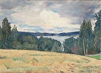 landskap vid sjön racken by ture ander