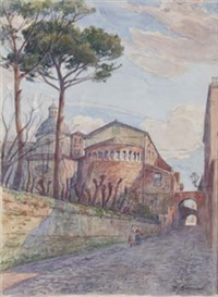 blick auf ss. giovanni e paolo (+ view of a roman church, verso) by pierre gusman