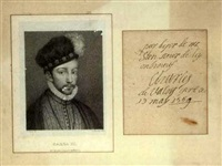 portrait of king charles ix of france (w/autograph, after hans holbein the younger) by gaetano tubino